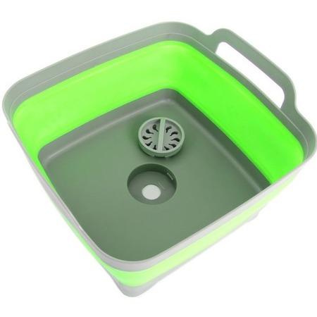 Купить Мойка-корзина складная Bradex «Дачный сезон» с ручками. Цвет: зеленый, серый