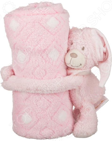 Плед детский с игрушкой Santalino «Розовый мишка» 851-003 плед детский арти м 75х100 см розовый мишка