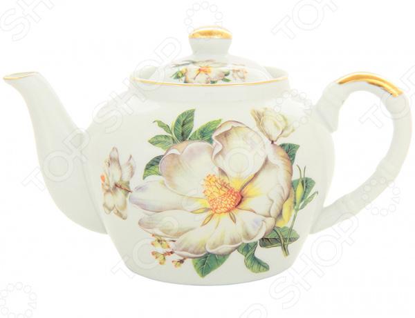 Чайник заварочный с ситом Elan Gallery «Белый шиповник»