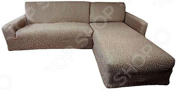 Zakazat.ru: Натяжной чехол на угловой диван с выступом справа Еврочехол «Микрофибра. Кофейный»