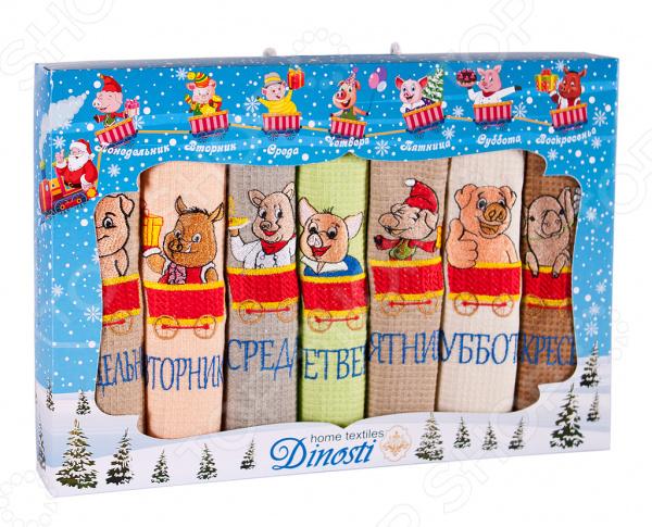 Комплект кухонных полотенец Dinosti «Неделька. Веселые поросята» комплект из 3 х кухонных полотенец dinosti розовые хрюшки