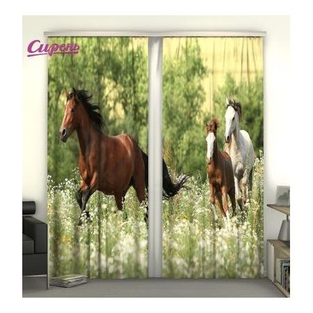 Купить Фотошторы Сирень «Лошади»