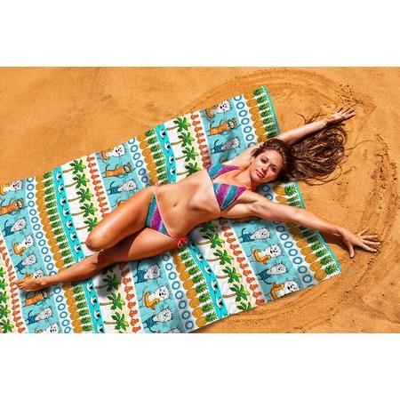 Купить Покрывало пляжное Сирень «Коты на пляже»
