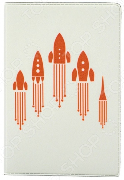 Обложка для паспорта кожаная Mitya Veselkov «Ракеты» обложки mitya veselkov обложка для паспорта рыжие кошки