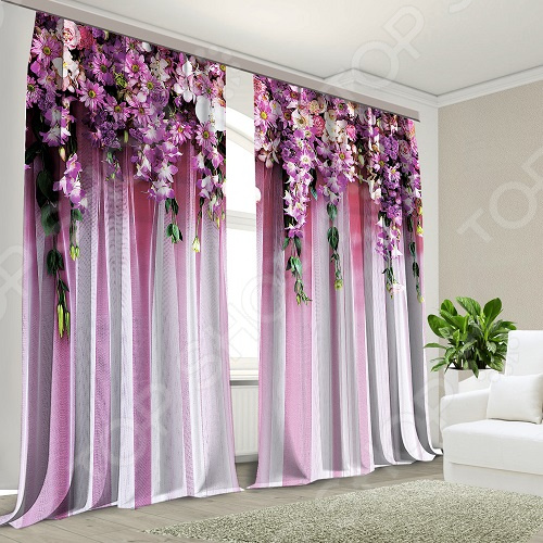 Шторы МарТекс «Цветочный сад» комплект шторы и тюль мартекс фиолетовый сад