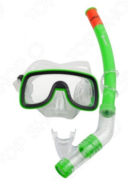 Набор из маски и трубки WAWE MS-1319S6 Набор из маски и трубки WAWE MS-1319S6 /Зеленый/Черный