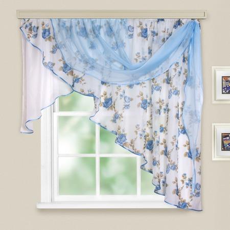 Купить Комплект легких штор правосторонний WITERRA «Мелодия». Цвет: голубой. В ассортименте