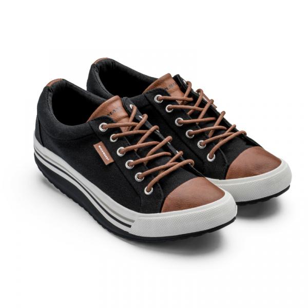 Кеды Walkmaxx Comfort 2.0 это удобная обувь, которая выделит вас из толпы. Стильный дизайн и яркие оттенки придадут вам энергии и уверенности в каждом шаге. Кеды со стильным кожаным носком подойдут для самых разных образов. Сочетая в себе фирменный дизайн, комфорт кроссовок и преимущества округлой подошвы, они подходят как для повседневной ходьбы, так и для вечеринок, концертов и фестивалей. Кеды Walkmaxx изготавливаются с уникальной округлой подошвой. Она поддерживает ноги, помогая избежать усталости и отеков, формирует особый тип походки, при которой масса тела перераспределяется, уменьшая давление на суставы. EVA-подушечка под пяткой придает шагу упругость, что позволяет вам оставаться активными целый день. Хорошая обувь должна быть удобной, долговечной и недорогой одновременно. Дизайнерам Walkmaxx удалось достичь этих показателей с помощью грамотного сочетания материалов:  Верхняя часть кед Walkmaxx изготовлена из хлопкового полотна, носок, язычок и задняя вставка из PU-кожи. Шнурки из вощеного хлопка продеты в алюминиевые петельки.  Стелька изготовлена из EVA-материала, которые эффективно гасит жесткие соприкосновения с землей. EVA-подушечка под пяткой усиливает амортизацию.  Подошва из рельефной резины гарантирует усиленное сцепление с землей. Боковые части выполнены с помощью резинового литья.
