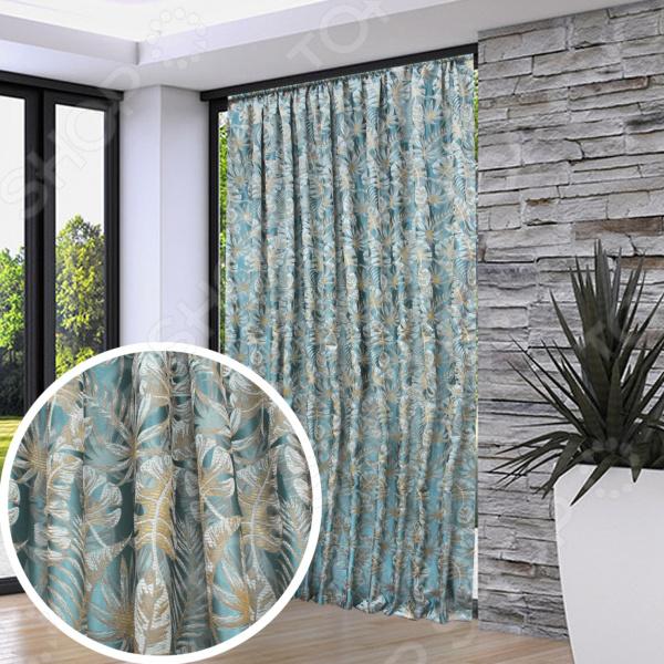 Домашний текстиль, в частности, шторы и гардины важная составляющая любого интерьера, ведь именно они делают помещение более уютным. Но как и любой другой элемент декора, шторы способны как подчеркнуть положительные стороны выбранного стиля интерьера, так и нарушить сложившуюся стилистическую и визуальную гармонию в вашем доме. С умом подобранные шторы способны преобразить вашу комнату, сделать её более светлой или уединенной, яркой или более спокойной, визуально больше или уютней. Обновить интерьер теперь просто! Портьера Amore Mio RR 610241. Цвет: бирюзовый это идеальный вариант для вашей гостиной, спальни, гостевой. Прочная, плотная и качественная портьера не только стильно оформит оконное пространство, но и позволит правильно расставить акценты в интерьере, скрыть небольшие недостатки в отделке. Особенность данной модели заключается в оригинальном дизайне в виде тропических листьев и приятной цветовой гамме. Такое изделие понравится тем, кто следит за модными тенденциями!  Главная особенность и достоинство этой шторы заключается в роскошной жаккардовой ткани, из которого она выполнена. Такая портьера обладает рядом достоинств:  устойчива к воздействию УФ-лучей, к усадке и деформации;  материал прост в уходе, устойчив к загрязнениям и хорошо сохраняет тепло;  сохраняет свой первоначальный внешний вид после многочисленных стирок, не линяя и не теряя насыщенность, яркость цветов;  не накапливает статического электричества, поэтому не притягивает пыль. Изделие крепится при помощи вшитой шторной ленты. Шторная тесьма позволяет быстро и легко задрапировать изделие на окне. Для этого достаточно продеть карниз сквозь петельки или использовать специальные крючки. Плотная портьера образует мягкие складки без заломов.