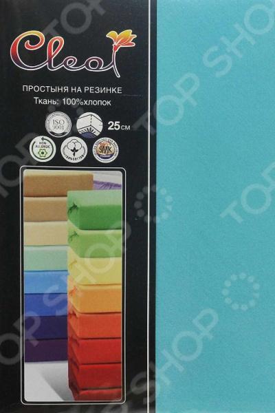 Простыня трикотажная на резинке Cleo гладкокрашеная. Цвет: бирюзовый простыня на резинке cleo 160х200 см cl