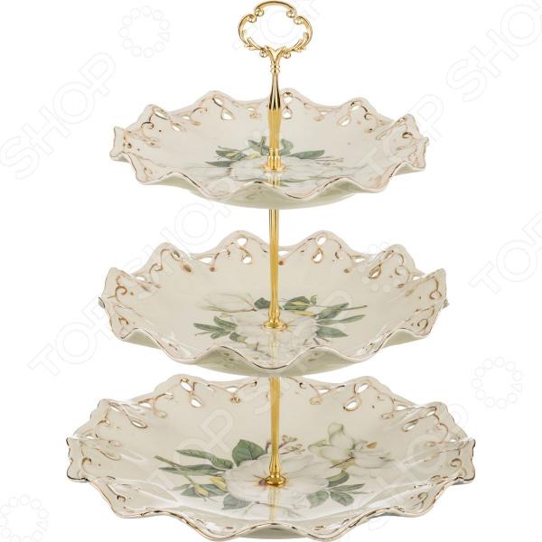 Фруктовница трехъярусная Lefard «Белый шиповник» 126-690 lefard фруктовница kenya 20х22х35 см