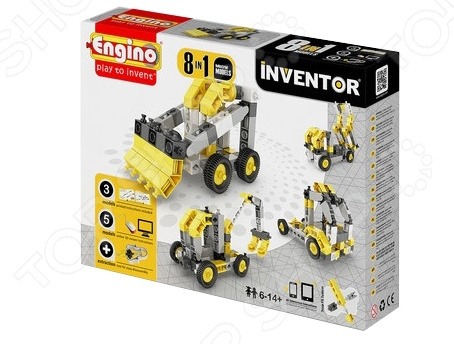 Конструктор игровой для ребенка Engino Pico Builds / INVENTOR PB24 «Спецтехника» конструкторы engino pico builds inventor мотоциклы 8 в 1
