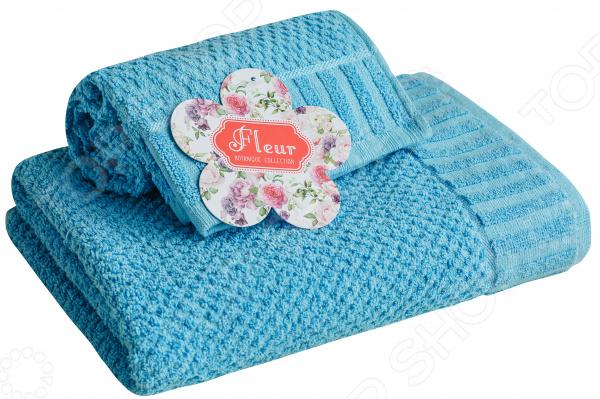 Полотенце махровое Василиса «Флер». Цвет: голубой