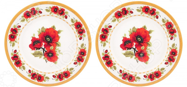 Набор десертных тарелок Elan Gallery «Маки»
