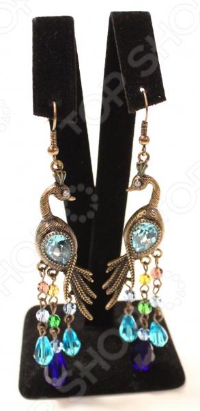 Серьги Milana Style «Прекрасный павлин»