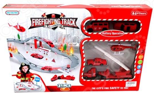 Трек гоночный Наша Игрушка «Пожарная бригада: техника» zhorya набор машинок пожарная техника х75140