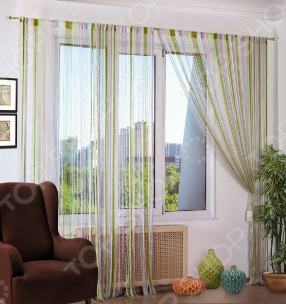 Шторы нитяные Алтекс «Радуга».. Цвет: белый, зеленый,розовый шторы haft нитяные шторы deniz цвет белый