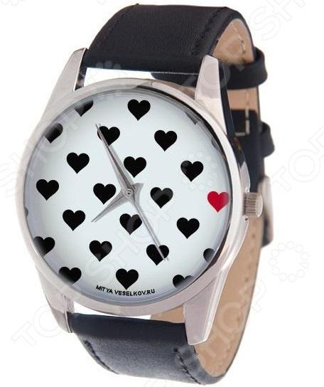 Часы наручные Mitya Veselkov «Черные сердечки  белом»