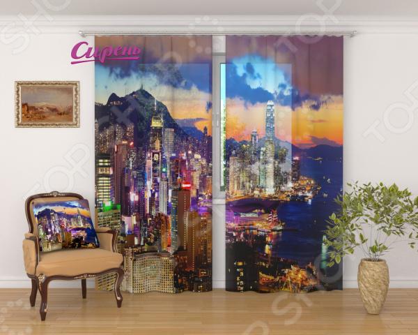 Фототюль Сирень «Закат в Гонконге» фототюль сирень тропический закат