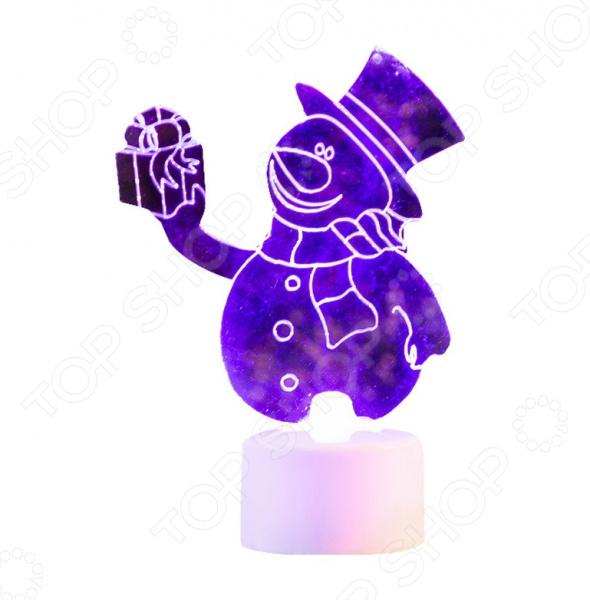 Фигура светодиодная на подставке Neon-Night «Снеговик с подарком 2D»