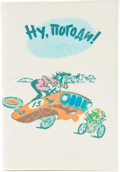 Обложка для автодокументов кожаная Mitya Veselkov «Ну, погоди!»
