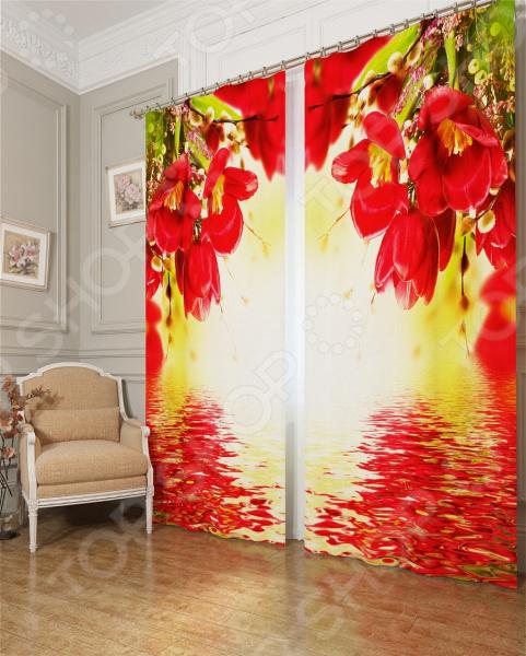 Фотошторы блэкаут Сирень «Букет с красными цветами»