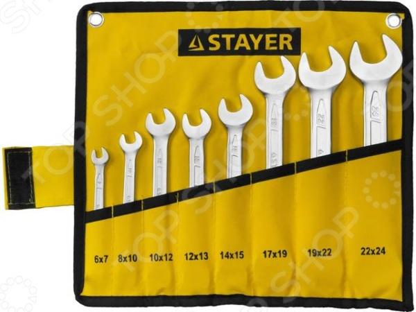 Набор ключей рожковых гаечных Stayer Profi 27035-H8 набор гаечных рожковых ключей 6 24мм 8шт stayer profi 27037 h8