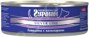Корм консервированный для собак Четвероногий Гурман Silver «Говядина с кальмарами в желе»