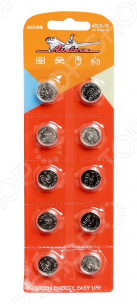 Набор батареек щелочных Airline AG10/LR1130 набор батареек щелочных airline ag12 lr43