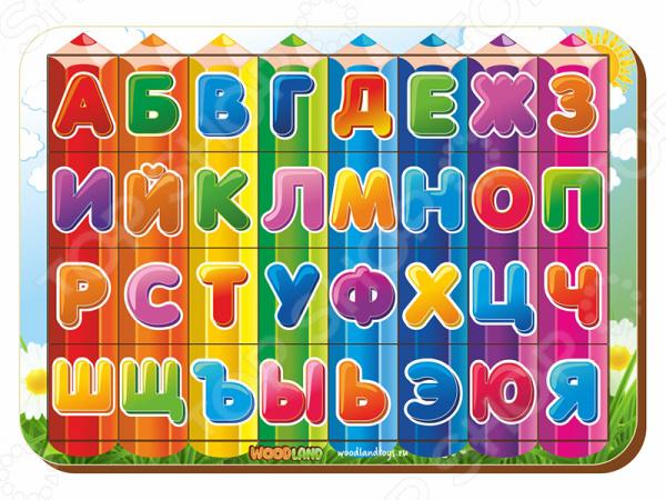 Игра развивающая WoodLand «Рамка-вкладыш: Изучаем буквы и алфавит 3»