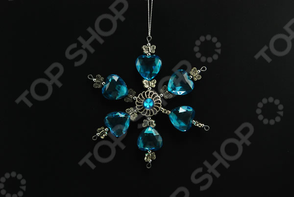 Новогоднее украшение Crystal Deco «Снежинка: сердце и бабочки»