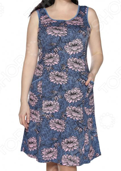 Платье Алтекс «Изобилие цветов». Цвет: джинсовый, пудровый
