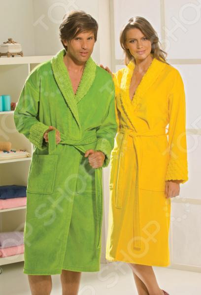 Халат махровый мужской Hobby Home Collection Angora. Цвет: зеленый