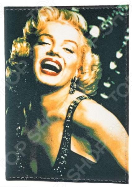 Обложка для паспорта кожаная Mitya Veselkov «Улыбка Монро на черном»