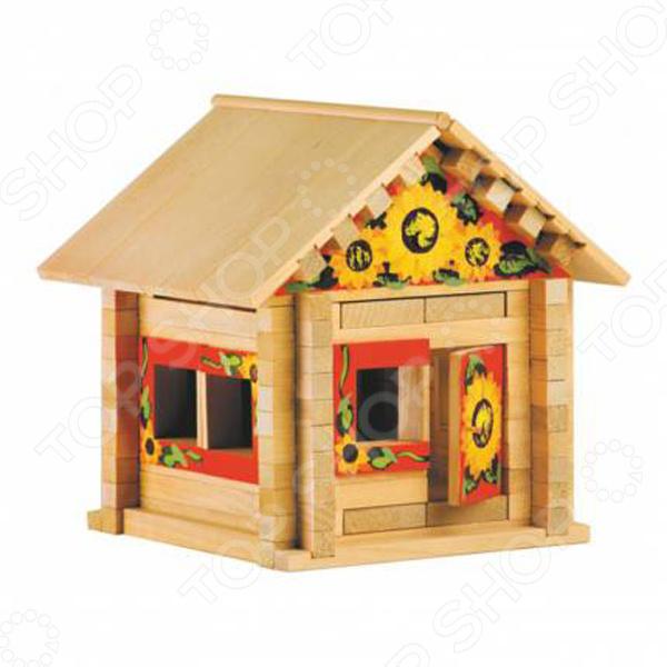 Конструктор деревянный со светом Теремок «Теремок с куклой и мебелью»