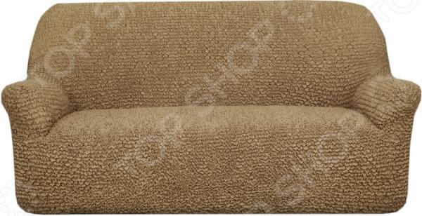 Натяжной чехол на трехместный диван Еврочехол «Микрофибра. Кофейный»