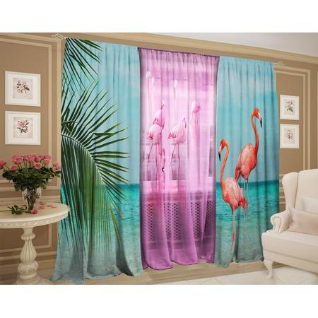 Купить Фотокомплект штор и тюля ТамиТекс «Благородный фламинго»