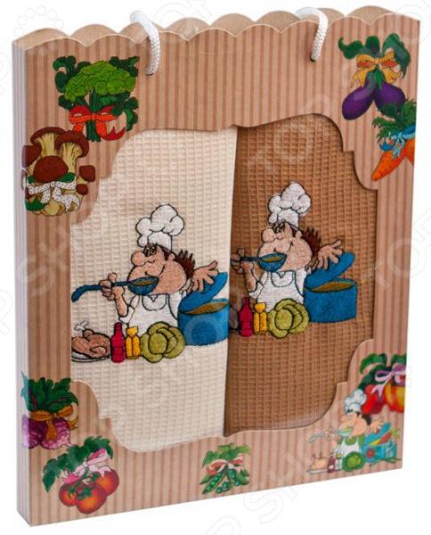 Комплект из 2-х кухонных полотенец Dinosti «Поваренок» комплект из 3 х кухонных полотенец dinosti розовые хрюшки