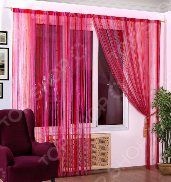 Шторы нитяные Алтекс «Радуга стеклярус». Цвет: красный, розовый шторы haft нитяные шторы deniz цвет белый