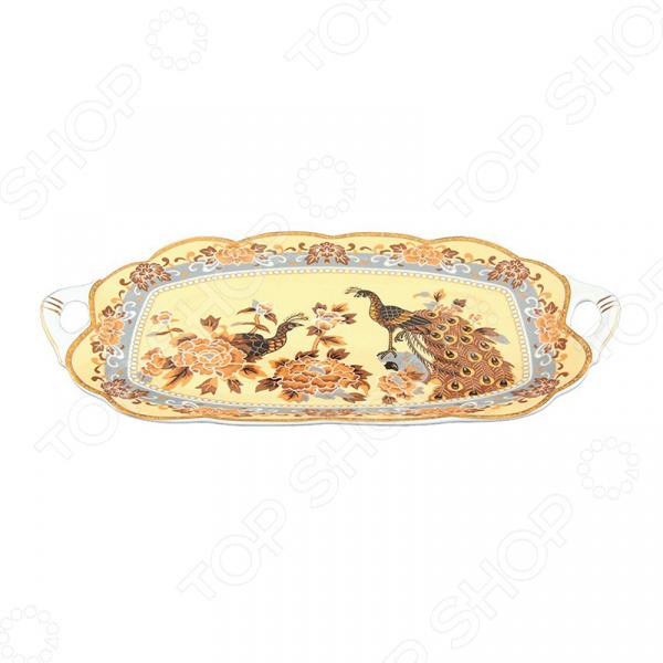 Блюдо сервировочное для нарезки Elan Gallery «Павлин на бежевом» блюда elan gallery блюдо универсальное павлин на бежевом