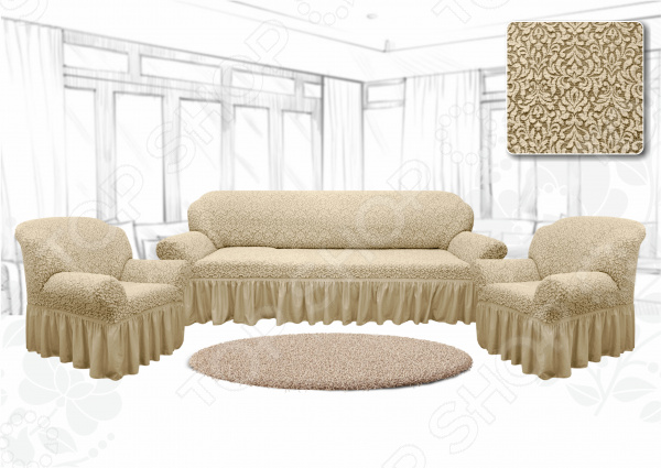 Натяжной чехол на трехместный диван и чехлы на 2 кресла Karbeltex «Престиж. Цветы»