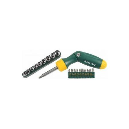 Купить Отвертка реверсивно-рычажная с битами и торцевыми головками Kraftool Expert Bit-Lock 26151-H21