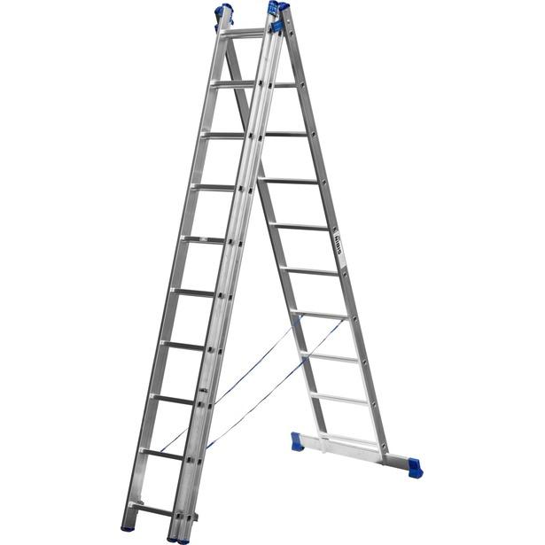 фото Лестница трехсекционная со стабилизатором Сибин 38833. Количество ступеней: 10