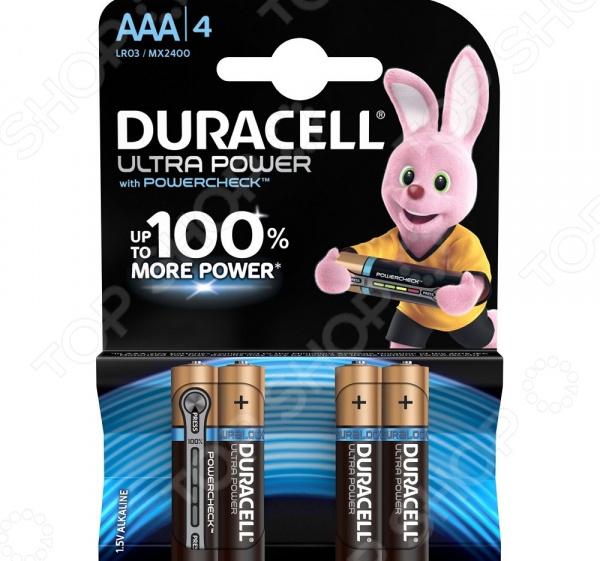 Набор батареек щелочных Duracell LR03-4BL Ultra Power батарейка aaa duracell lr03 4bl ultra power 4 штуки