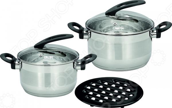 Набор кастрюль Calve CL-1808 набор кухонной посуды calve с подставкой 5 предметов cl 1829