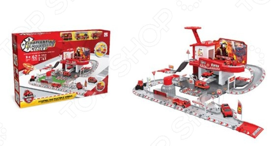Набор игровой с машинкой Наша Игрушка «Пожарная станция» 637496 набор игровой с машинкой dave toy пожарная станция