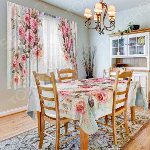 комплект шторы и тюль синель альянс плюс 1405 Фотокомплект для кухни: шторы, тюль и скатерть ТамиТекс «Диорама»