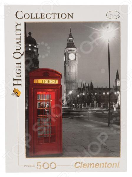 Пазл 500 элементов Clementoni HQ «Лондон. Красная телефонная будка» clementoni пазл hq вороной конь в море 500