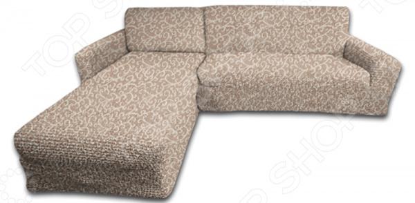 Натяжной чехол на угловой диван с выступом слева Еврочехол Еврочехол «Жаккард. Волны»
