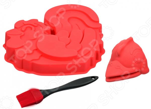 Набор кулинарный: форма для выпечки, прихватка и кисточка Marmiton 17089 форма для выпечки marmiton форма для выпечки яблоки marmiton оранжевый силикон